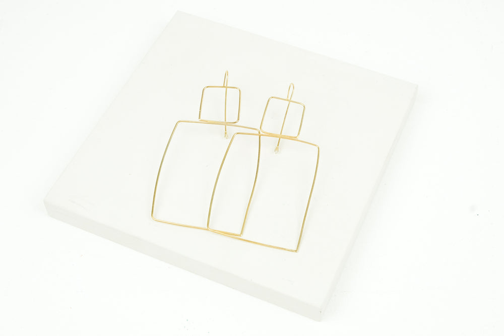 Large Wire Hook Earrings Gold Plated