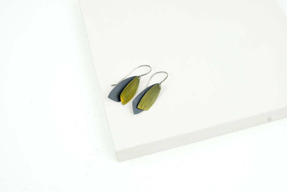 Large Lined Leaf Earrings