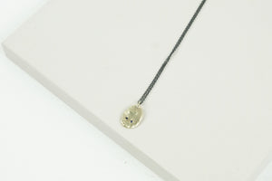 Gold Smoosh Pendant with two Sapphires
