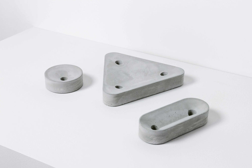 POUR Concrete Candle Holder - three