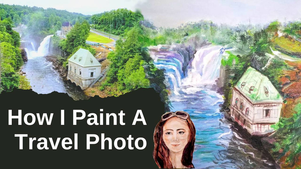 How I Paint this Landscape Painting From A Travel Photo in Acrylic