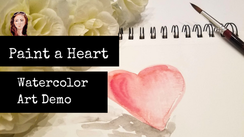 1 Min Art, paint a heart in watercolor