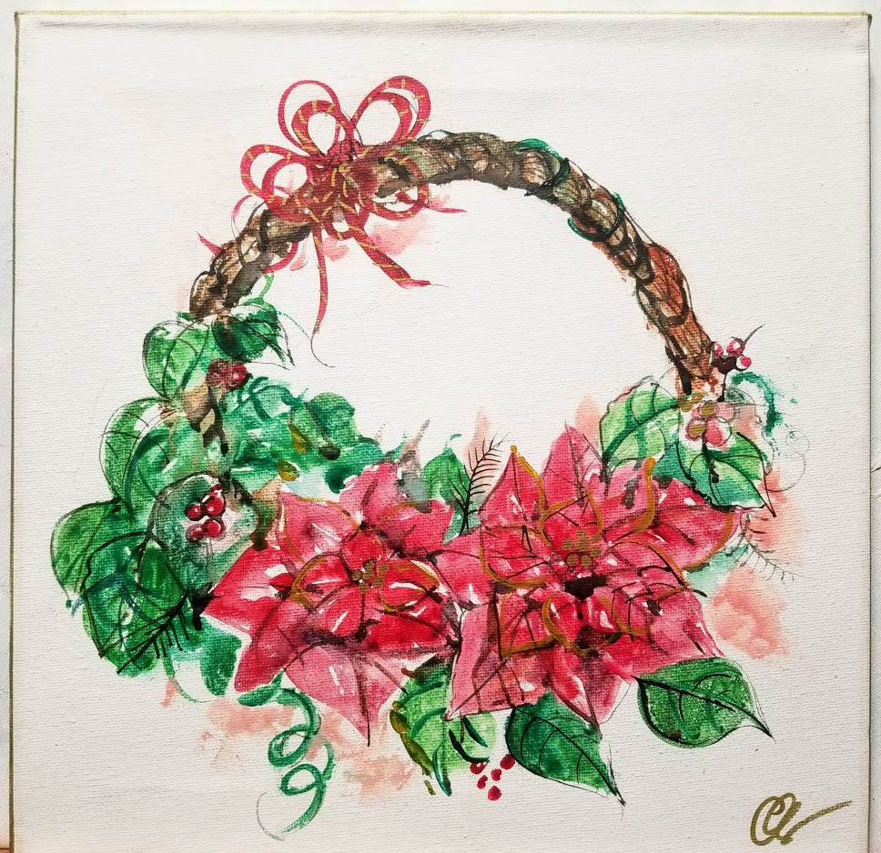 Original Holiday Art - Wreath with red christmas flowers 12' x 12""