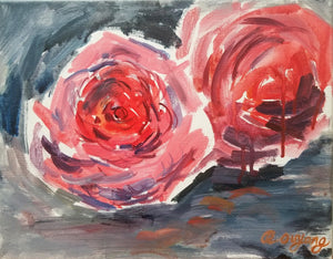 Original Semi Abstract Art - Holiday Pink Flower