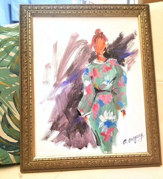 "Original 11"" x 14"" Semi Abstract Fashion  Art - Lady in Green Floral Dress"