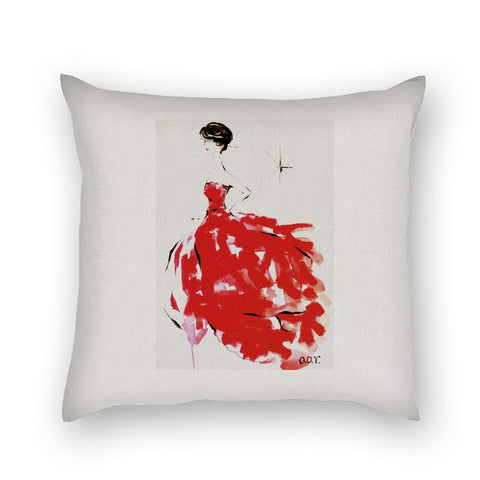 AQQ Studio Contemporary Red Fashion Art Premium Linen Square Pillow Cover 18 x 18 Inches