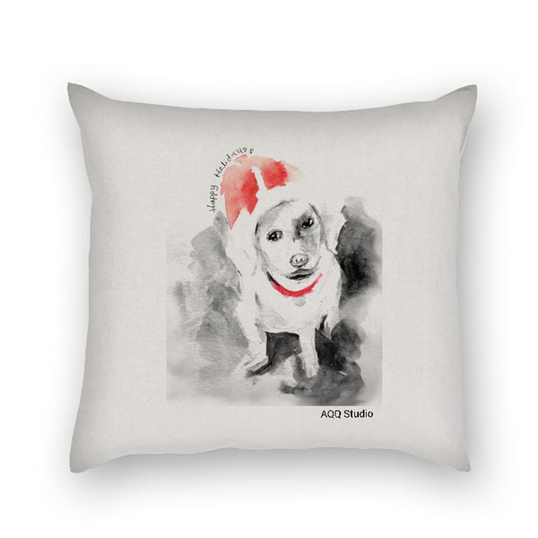 AQQ Studio Watercolor art Christmas Dog Square Pillow Case 18 x 18 Inches