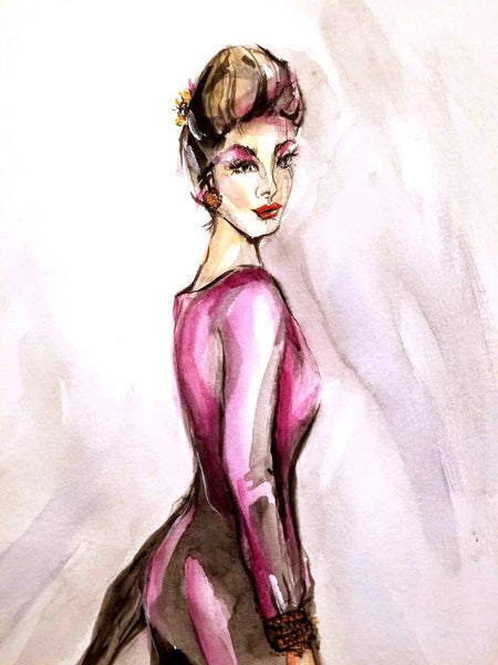 "Original Fashion Art in Watercolor 16"" x 20"" - Fashion Figure 2020"