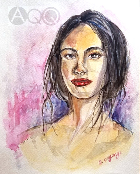 "Original Contemporary Watercolor 11"" x 14"" - Gaze"