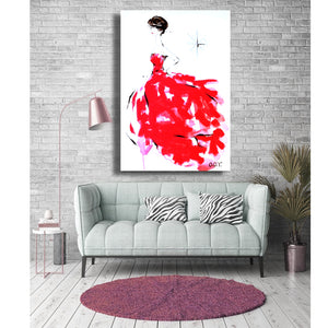 "Original Contemporary Art Fashion Red Theme 20"" X 30"" Acrylic on Canvas"