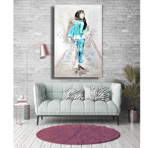 "Original Contemporary Art Fashion Blue Theme 20"" X 30"" Acrylic on Canvas"
