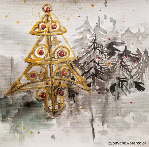 "Original Holiday Watercolor Art - Abstract Christmas Tree 12"" x 12"""