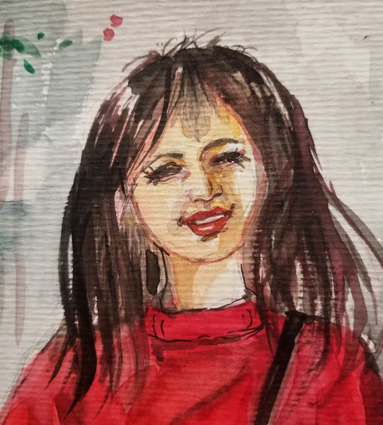 "Original Holiday Watercolor Art - Short hair girl in red sweater 12"" x 12"""