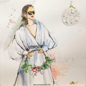 "Original Holiday Watercolor Art - A woman holding a wreath  12"" x 12"""