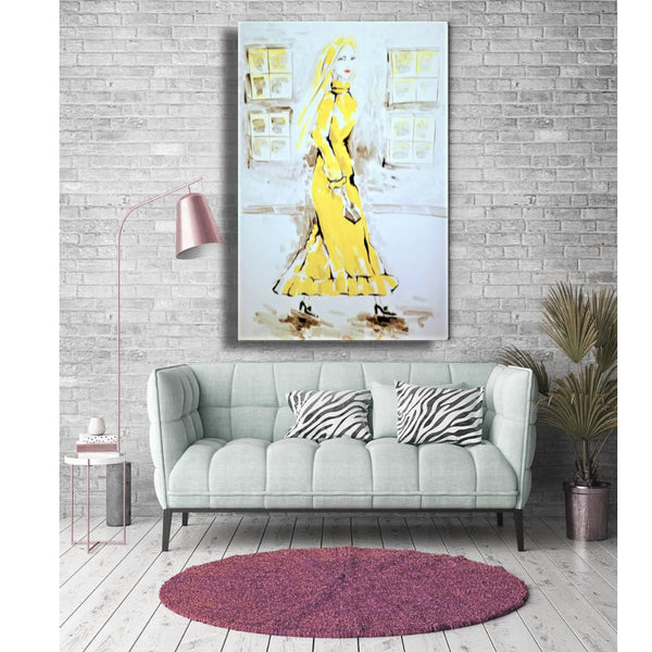 "Original Contemporary Art Fashion Yellow Theme 20"" X 30"" Acrylic on Canvas"