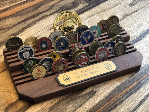 Challenge coin holder 2 tier with engraved plaque