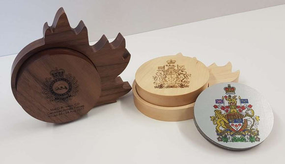 Aluwood Military Coaster Gift Set (maple leaf design)