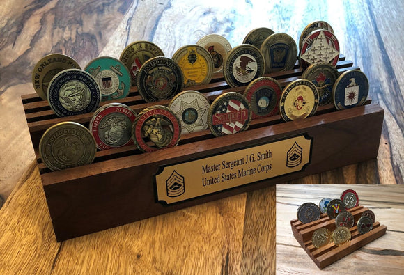 BOGO Special - Challenge 35 Coin Holder - 2 tier Thick base with engraved plaque. GET Small coin holder FREE. Black walnut or cherry.