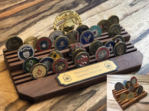 BOGO Special - Challenge Coin Holder - 2 tier Thick base with engraved plaque. GET Small coin holder FREE