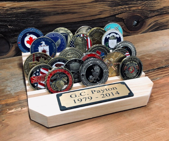 "7"" Challenge Coin Holder with Plaque"