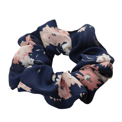 dark blue floral hair scrunchie
