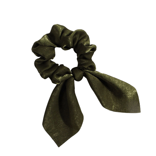 army green bow scrunchie