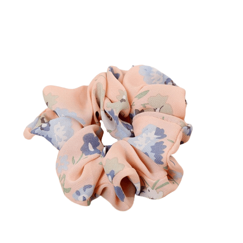 pink floral hair scrunchie