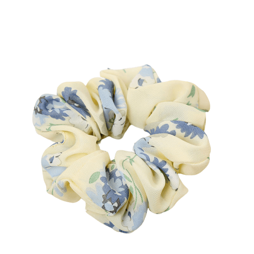 light yellow floral hair scrunchie