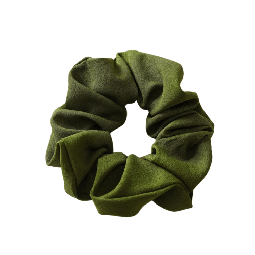 solid green hair scrunchie