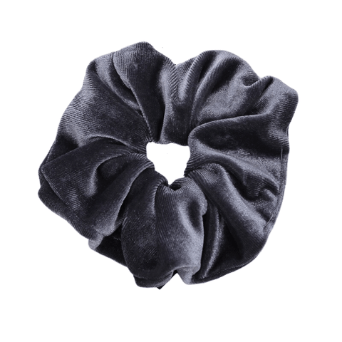 dark grey velvet hair scrunchie