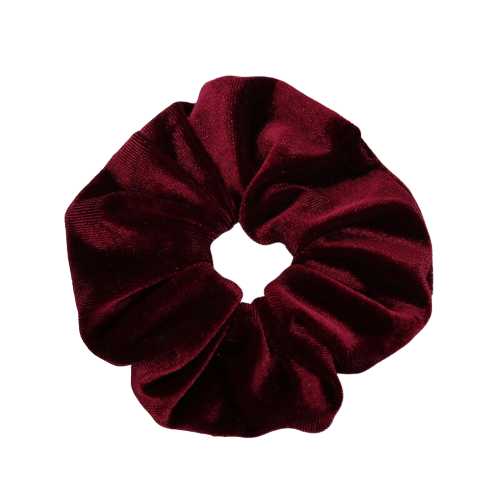 wine red velvet hair scrunchie