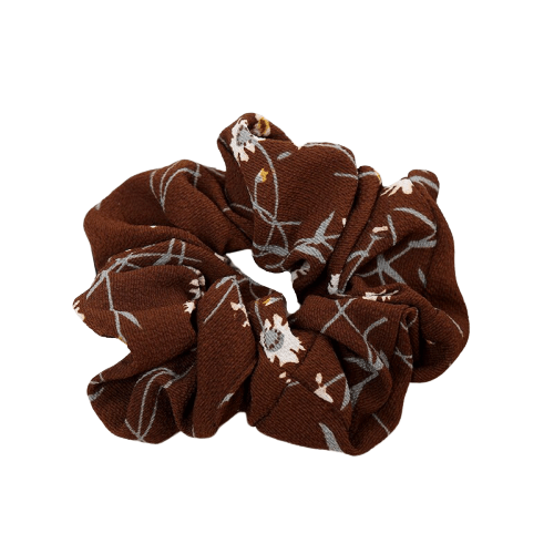 brown floral hair scrunchie