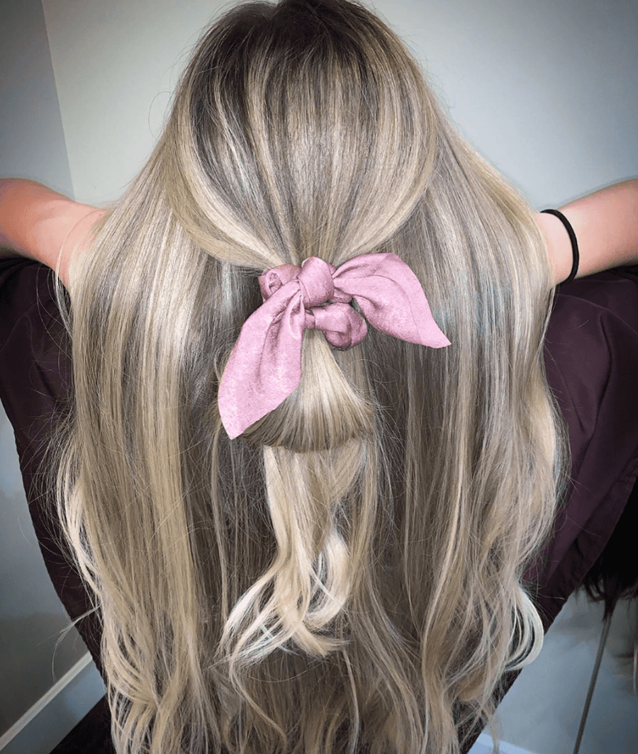 purple bow scrunchie