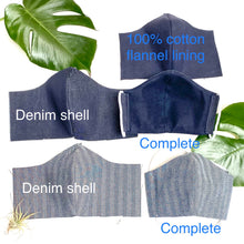 Load image into Gallery viewer, Herringbone Denim Face Mask - spring/fall weight
