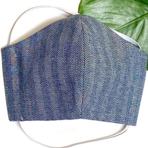 Herringbone Denim Face Mask - spring/fall weight