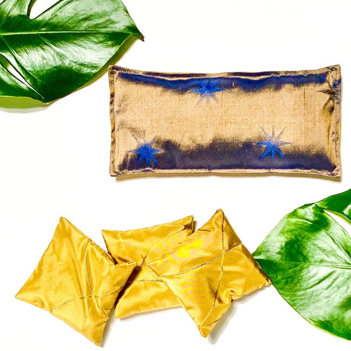 Silk lavender & flax seed Eye Pillow - Stars in gold and blue
