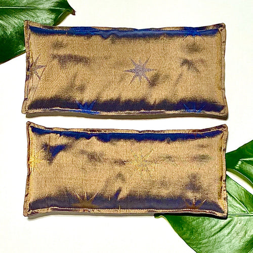 Silk organic flax seed Eye Pillow - Stars in gold and blue