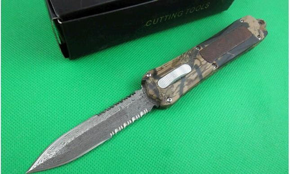 Digital Camo A163 Mict Damascus Blade 4 Models Double Action Hunting Pocket Knife