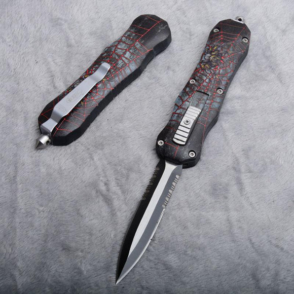2 Styles Red Microtech Double Action Auto Camping Pocket Knife Double Serrated Blade With Nylon Sheath Wood Box P706M F