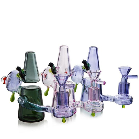 2018 Mini Bong Perc Heady Small Recycler Glass Rig Bongs Unique Design Water Pipes Dab Oil Rigs 14 mm Mushroom With Bowl XL129