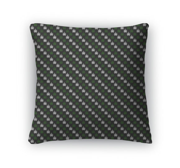 Throw Pillow, Green And Black Marijuana Leaf Pattern Repeat