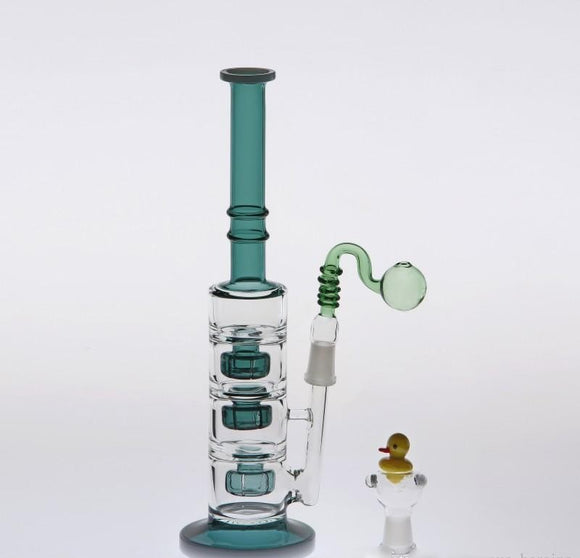 Hunter Glass Big Bong with Dual Functioning Bowls & Three Layer Percolators Features A Dry Bowl & Oil Rig Attachment