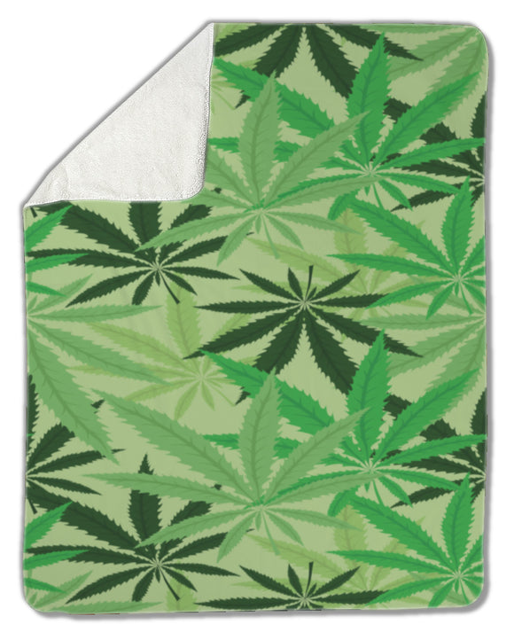 Blanket, Green hemp, cannabis, marijuana leaves