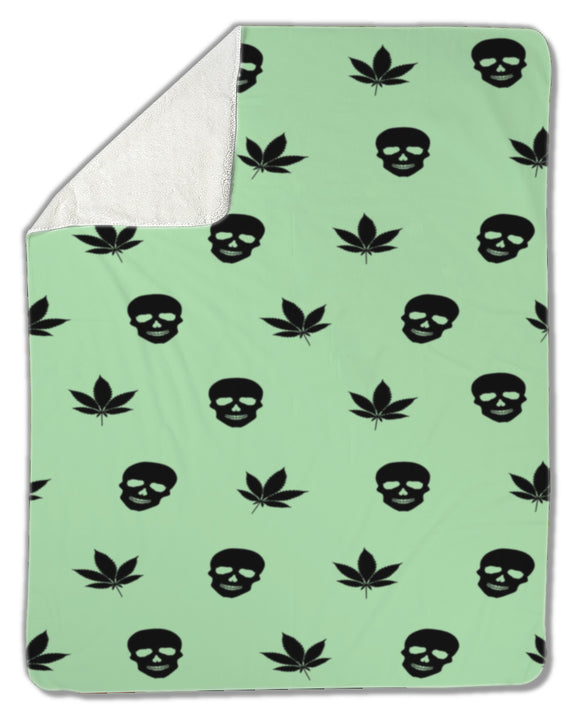 Blanket, Marijuana leaves and Skulls