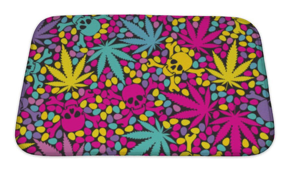 Bath Mat, Cannabis Leafs With Skulls