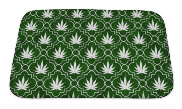 Bath Mat, Green And White Marijuana Leaf Pattern Repeat
