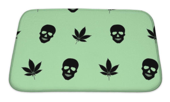 Bath Mat, Abstract Colorful Pattern With Marijuana Leaves And Human Skulls