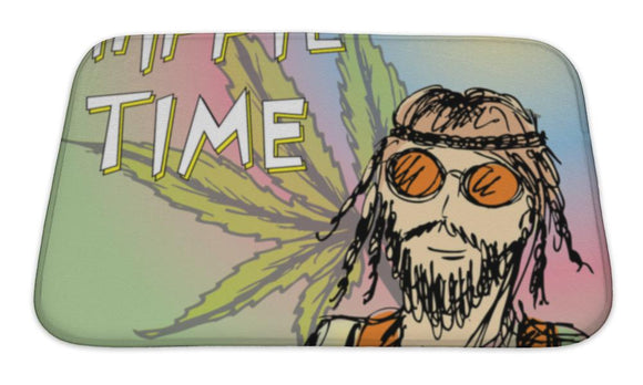 Bath Mat, Hippie Time Hippie Van Marijuana Leaf Illustration
