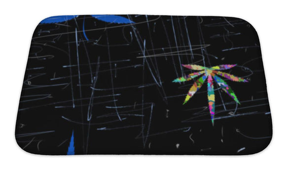 Bath Mat, Colorful Abstract Pattern With Marijuana Leaves Scratches And Cracks