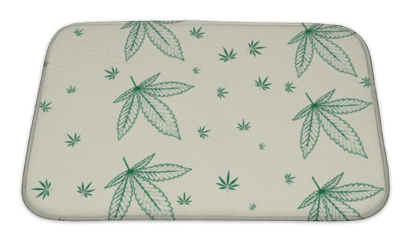 Bath Mat, Abstract Pattern With Colorful Marijuana Leaves